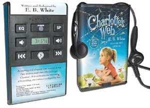Examples of a playaway and Charlotte's Web